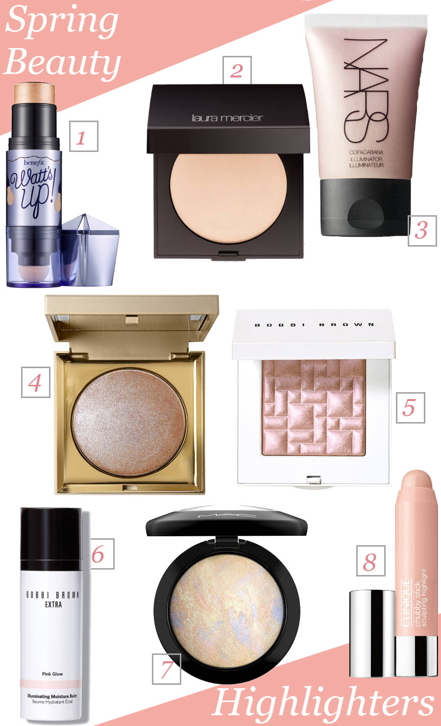 Spring Beauty Must-Haves. Highlighting powder and highlighter sticks from Nordstrom Beauty Brands.