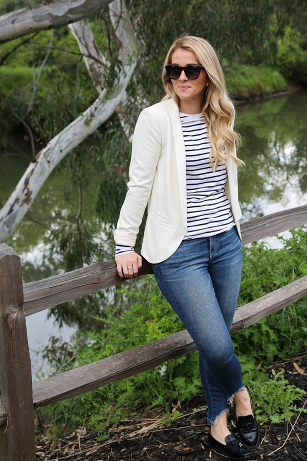 What to Wear in Wine Country. This striped shirt and white blazer outfit idea is perfect for wine tasting, walking, and bike riding. The blazer and loafers are comfortable enough for a day in wine country to a night out at dinner. Wine Country Photos.