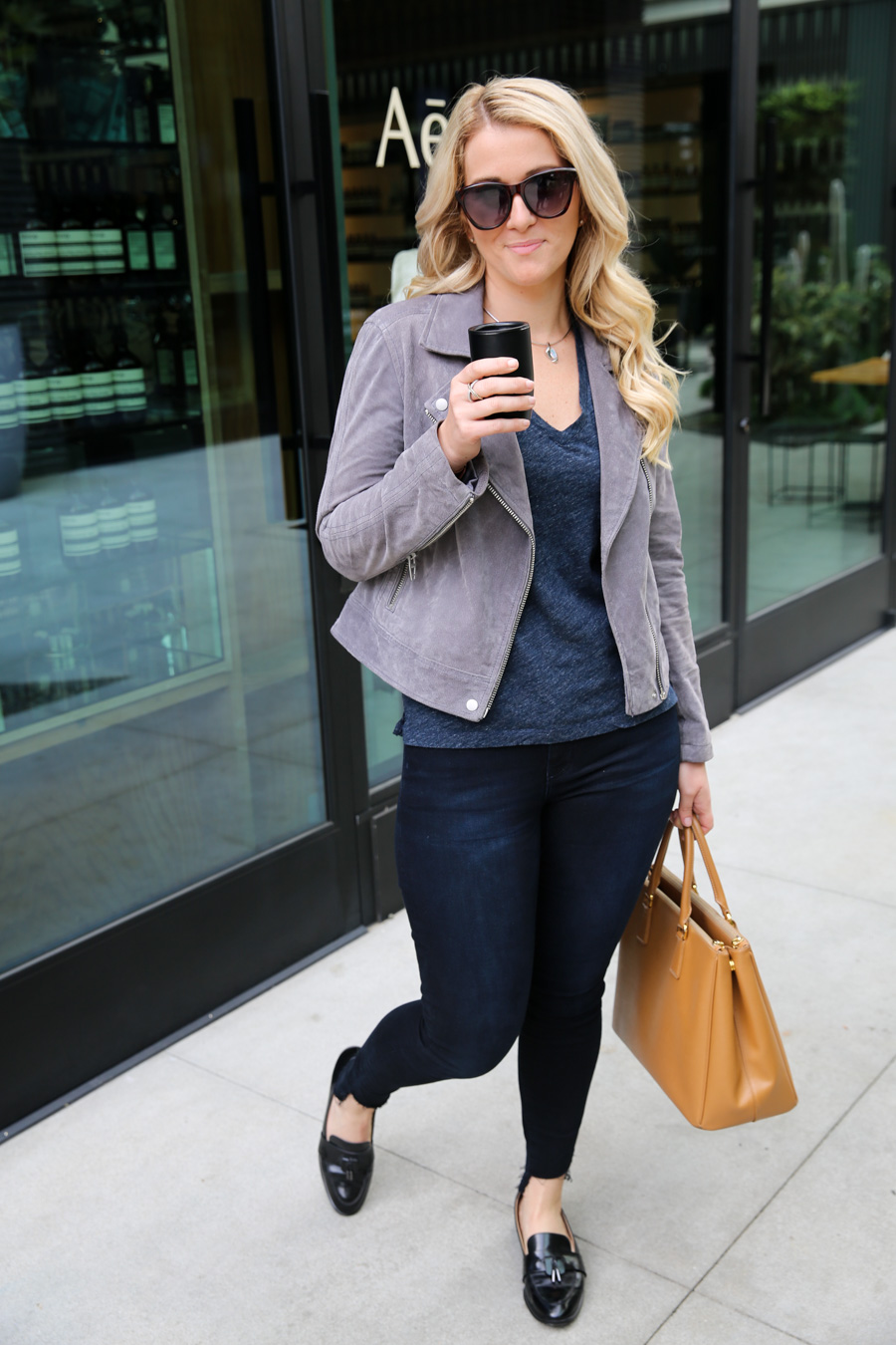 Suede Leather Jacket Outfit for Women