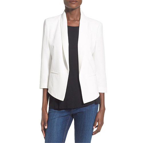 Mural Crop Blazer with Open Front