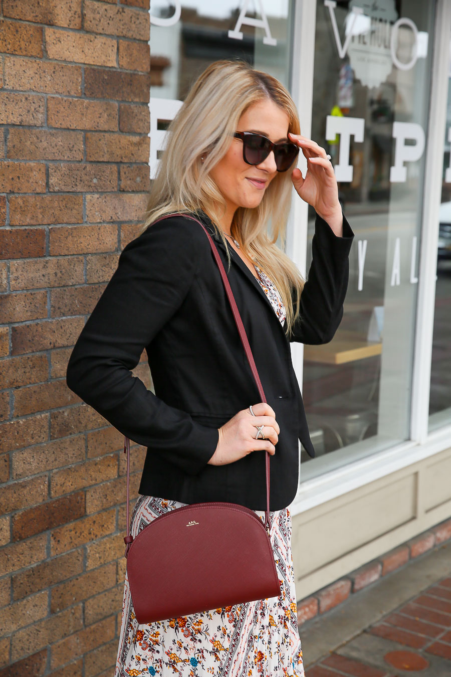 Maxi Dress and Blazer Outfit with Black Slide Sandals