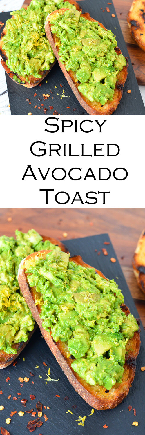 BBQ Grilled Avocado Toast - Avocado on Spicy Grilled Bread. A fun twist on hippie toast - avocado toast with sourdough and chili flakes. A great camping <a href=