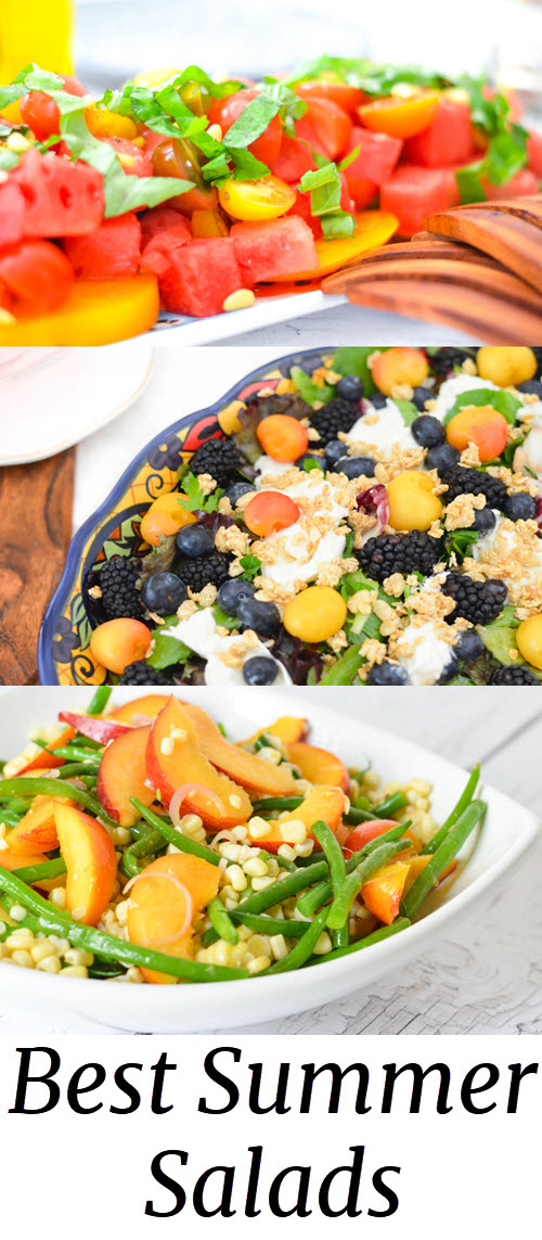 Best Summer Salads. 9 Healthy Summer Salads w. Fresh Summer Fruits + Vegetables. Healthy recipes for green beans, corn, heirloom tomatoes, cherries, berries, watermelon. #healthy #foodie #summer #bbq #potluck #recipes #homemade #lmrecipes