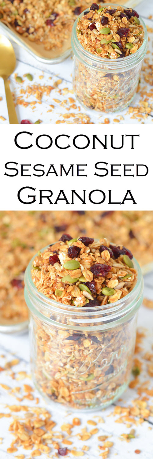 Coconut Sesame Seed Granola Recipe. Enjoy this delicious combination of unsweetened coconut, pumpkin seeds, sunflower seeds, cinnamon, and so much more. Great as a cereal or with yogurt. #lmrecipes #breakfast #brunch #healthy #healthyrecipes #foodblog #foodblogger #homemade