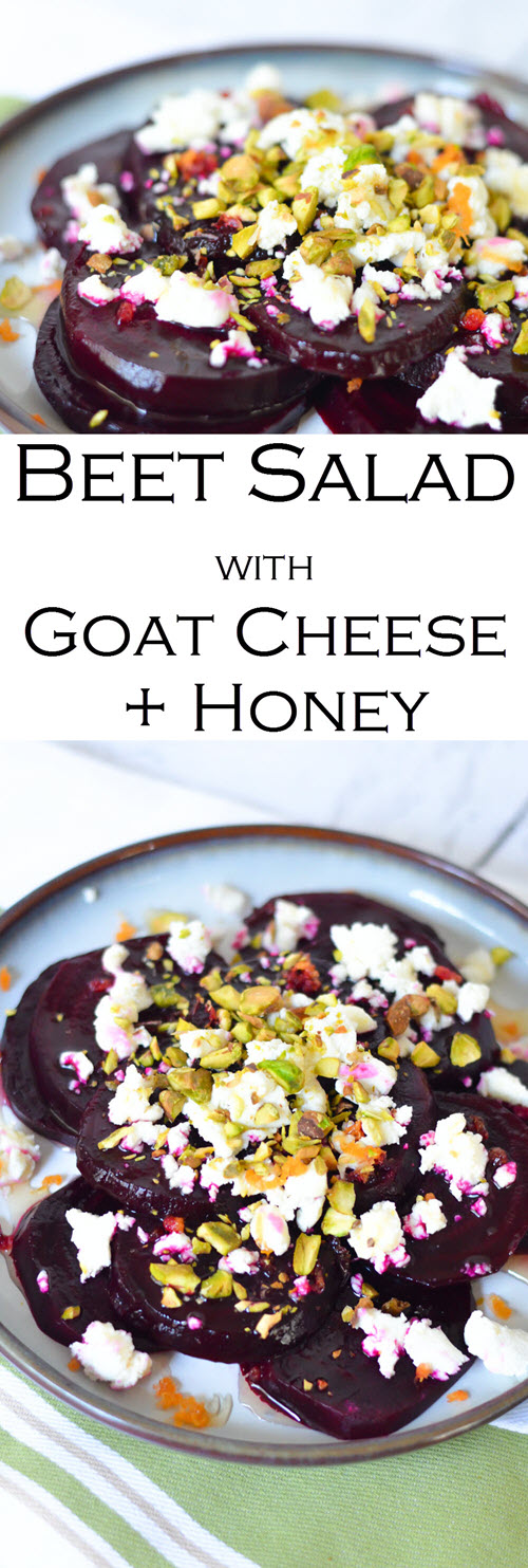 Cold Beet Salad w. Goat Cheese, Honey, + Pistachios. Delicious and easy beet salad recipe everyone will love. This is the perfect salad or appetizer for a weeknight dinner idea of easy entertaining recipe. #lmrecipes #beets #goatcheese #appetizer #salad #healhtyrecipe #foodblog #foodblogger #vegetarian