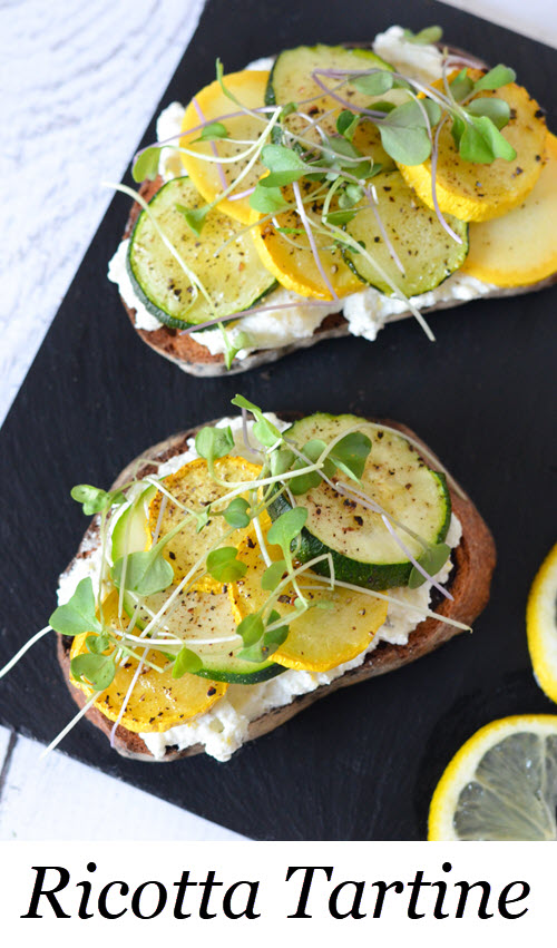 Ricotta Toast w. Zucchini. Ricotta Toast w. Zucchini Squash + Lemon Zest. A delicious appetizer or small meal with green and yellow squash. #LMrecipes #zucchini #toast #tartine #appetizers #sidedishes #breakfast #brunch #dinner #foodblog #foodblogger #recipes #ricotta #cheese