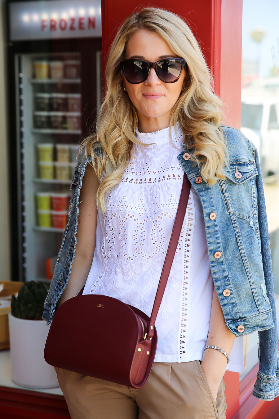 Polka Dot Pants Outfit w. Denim Jacket