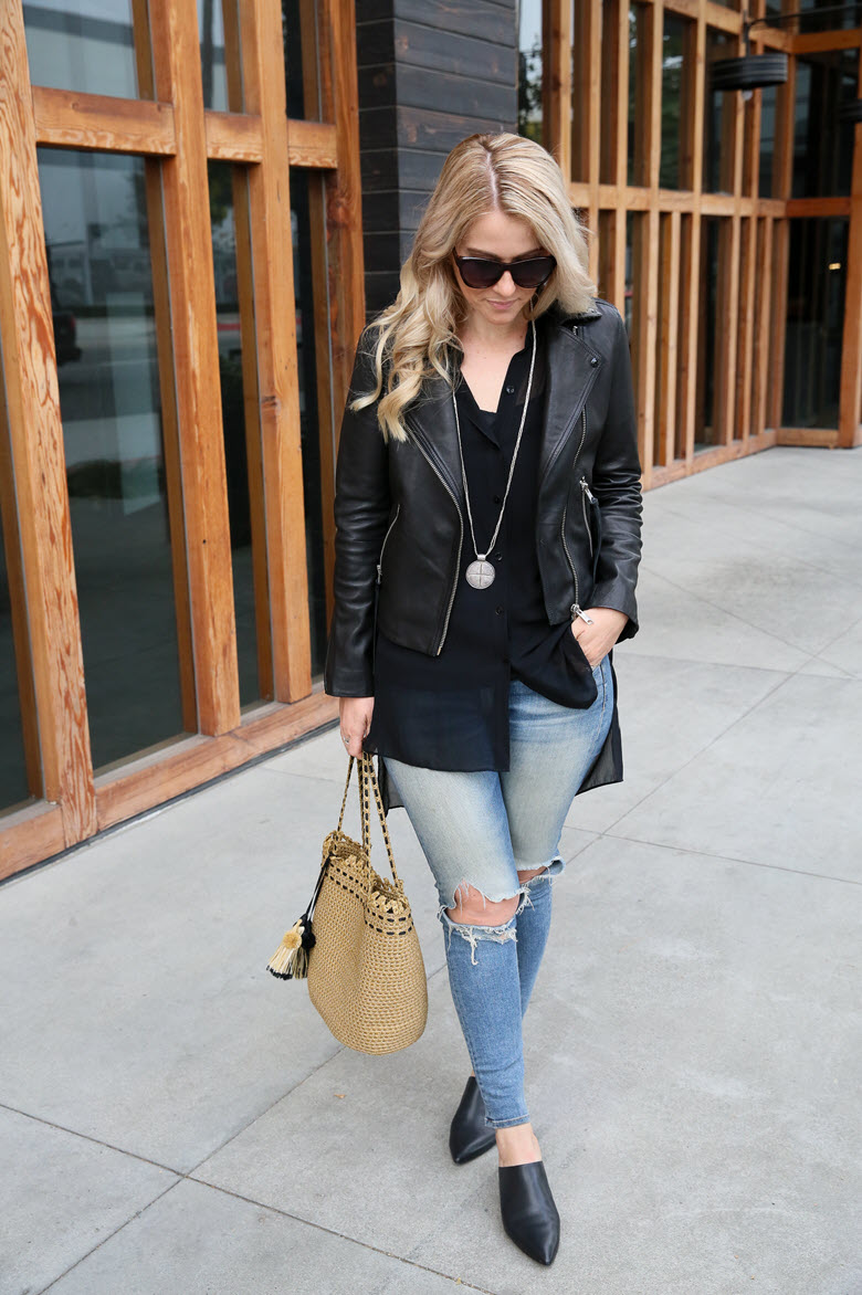 Leather + Length | How to Wear Long Shirts