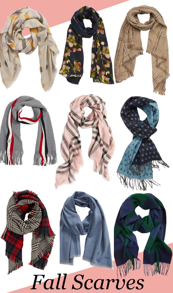 Stylish Fall Scarves for Men and Women 2018. Looking for solid or printed scarves, check out this roundup. Everything from the classic burberry print scarf to some fun scarves for under $30! #fallfashion #scarves #mensfashion #mensstyle #womensfashion #fashionblog #burberry #barbour #longchamp #tedbaker