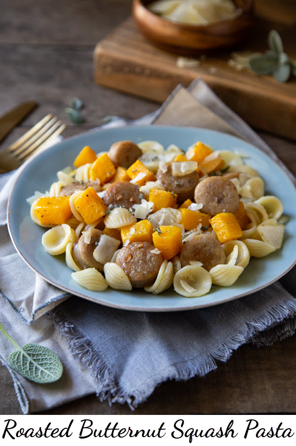 Roasted Butternut Squash Pasta w. Sausage. Great Weeknight Dinner. Roast veggies and chicken sausage on one sheet pan in oven. Mix into orecchiette pasta for a great fall dinner. #butternutsquash #wintersquash #sausage #chickensausage #dinner #dinnerrecipe #falldinner #fallrecipe #lmrecipes
