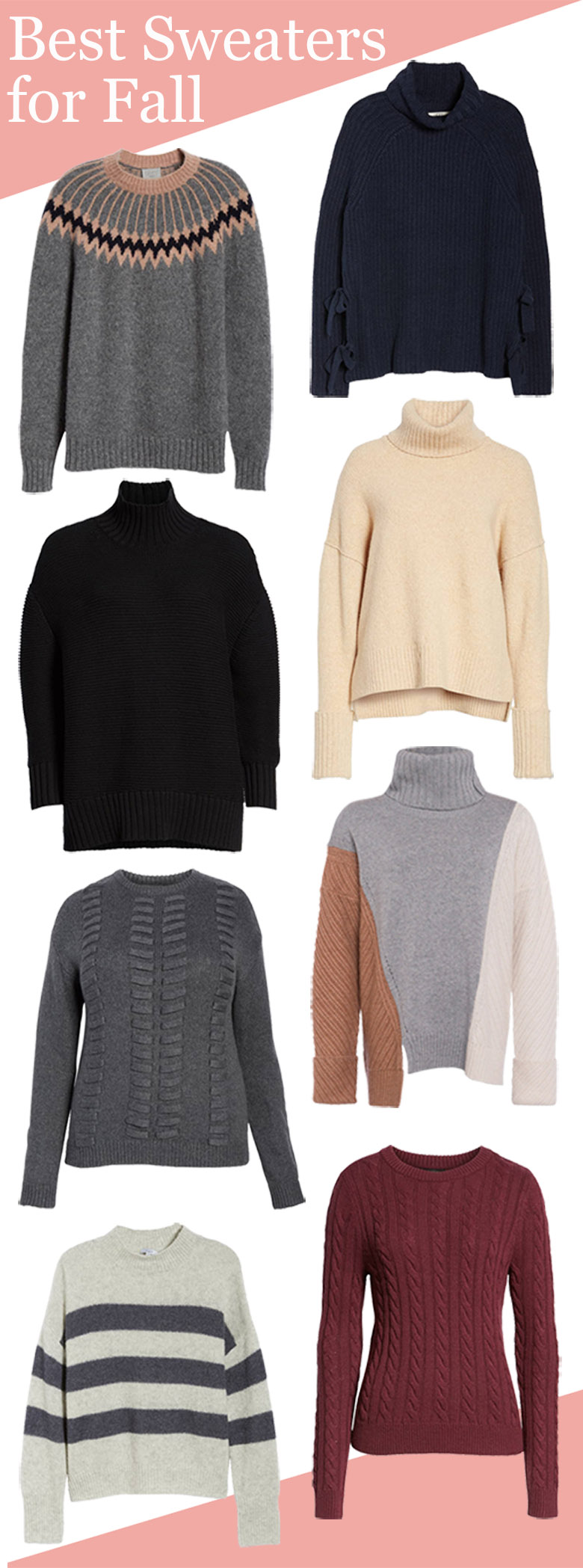 Best Fall Sweaters 2018 for Women. Get some fall outfit inspiration with the great fall sweaters for women. Stripes and solids, crew neck and oversized sweaters - you'll want each of these! #sweaters #fallfashion #fallstyle #outfitideas #nordstrom