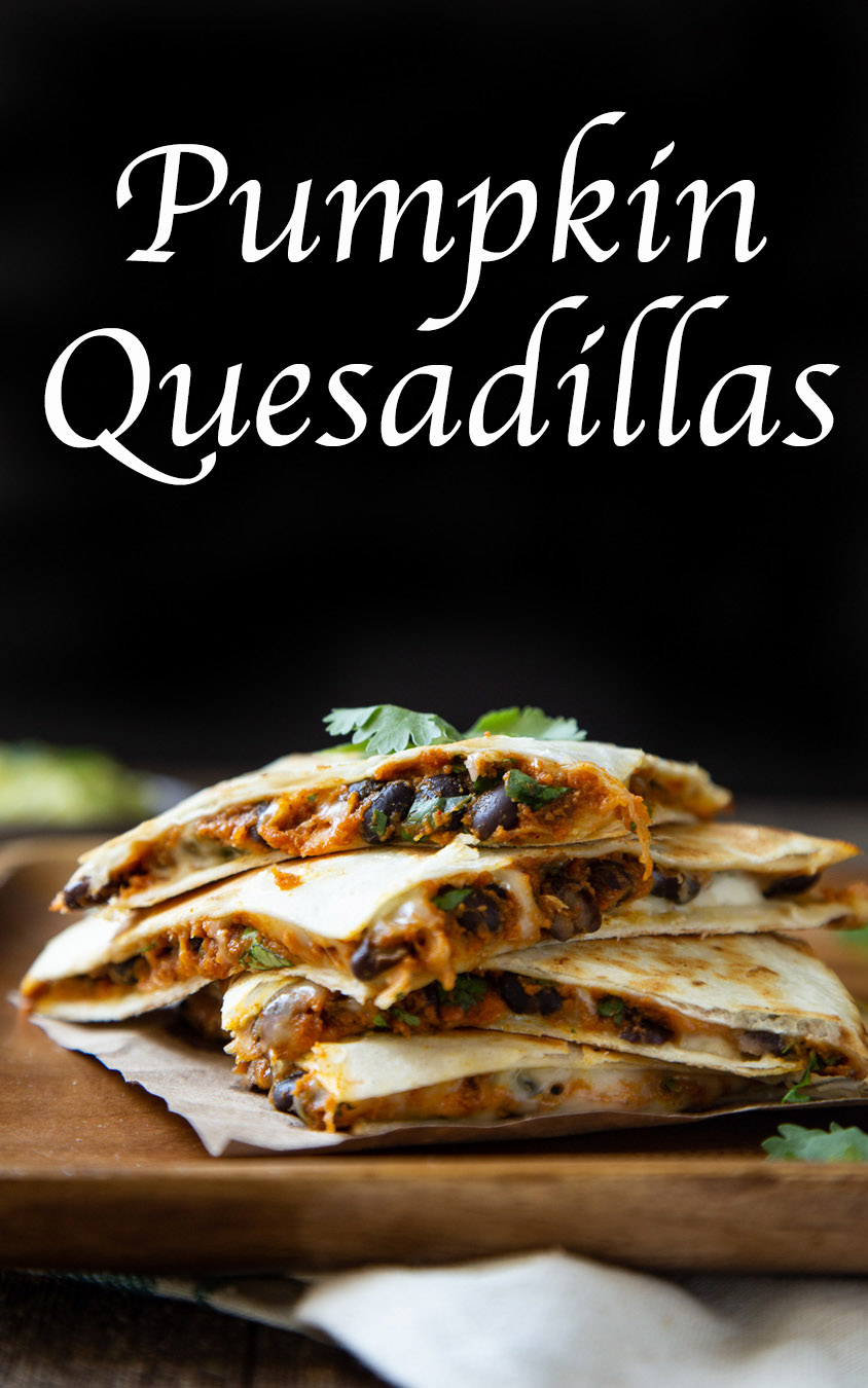 Pumpkin Quesadillas - Savory Pumpkin Recipes. This easy fall dinner recipe is a canned pumpkin recipe with black beans and cheese topped with fresh cilantro. #dinner #dinnerrecipe #pumpkin #savorypumpkinrecipe #pumpkinrecipes #fallrecipe #fall #falldinner #lmrecipes #foodblog #foodbloggers