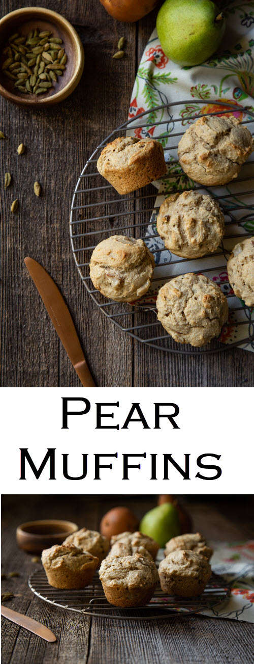 Spiced Pear Muffins with Walnuts. This great fall recipe combines fresh pears, cardamom, and walnuts with pastry flour for the perfect breakfast muffin recipe. #lmrecipes #muffins #pear #pearmuffins #cardamom #walnuts #foodblogger #foodblog #recipe #fall #fallfood #fallrecipes