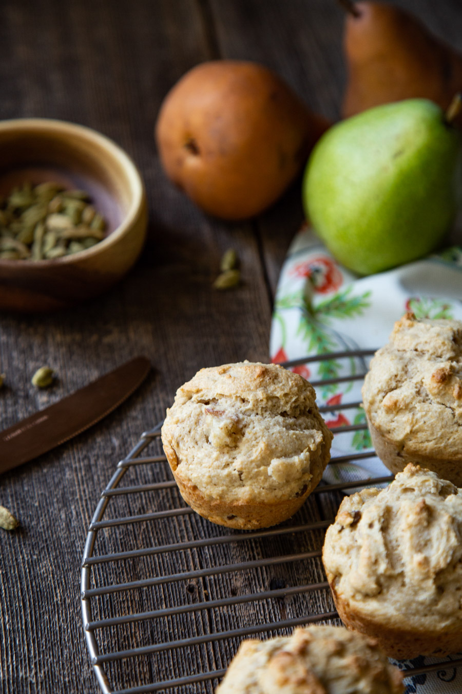 Spiced Pear Muffins with Walnuts