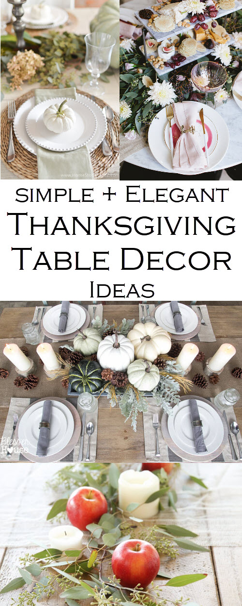 Thanksgiving Table Decor Ideas. These Thanksgiving decorations are fun and easy with eucalyptus, flower, and pumpkin tablescapes. #thanksgiving #tabledecor #pumpkins #tablescapes #decorations #tday #turkeyday #entertaining