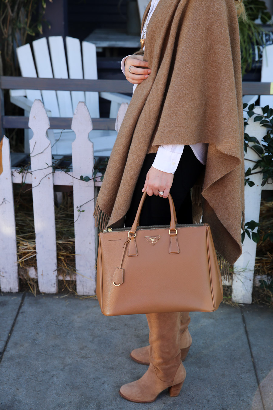 Tan Cape Outfit Idea with Boots + Button Down Shirt