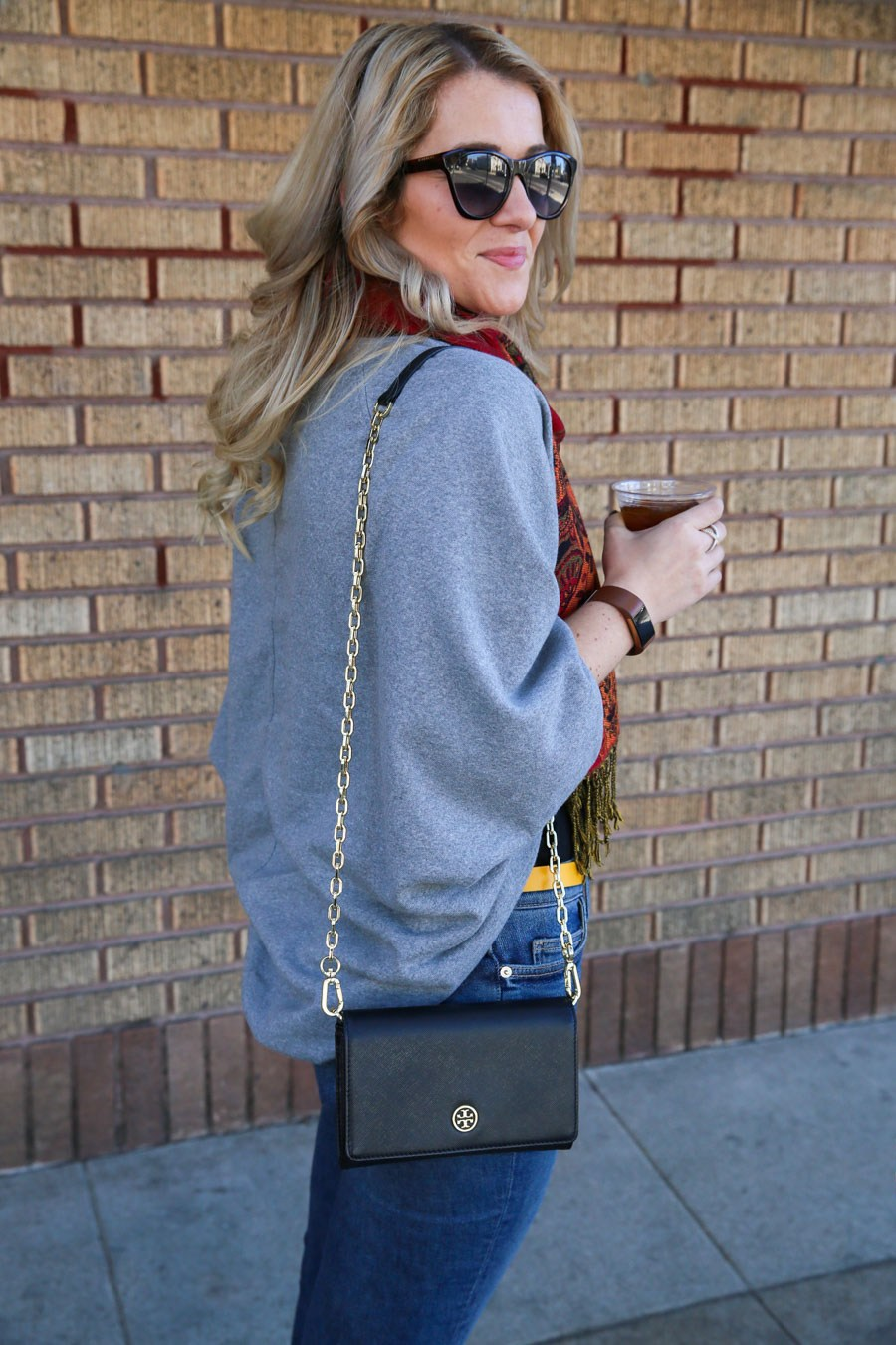 Tory Burch Clutch Outfit with Black Leather Jacket