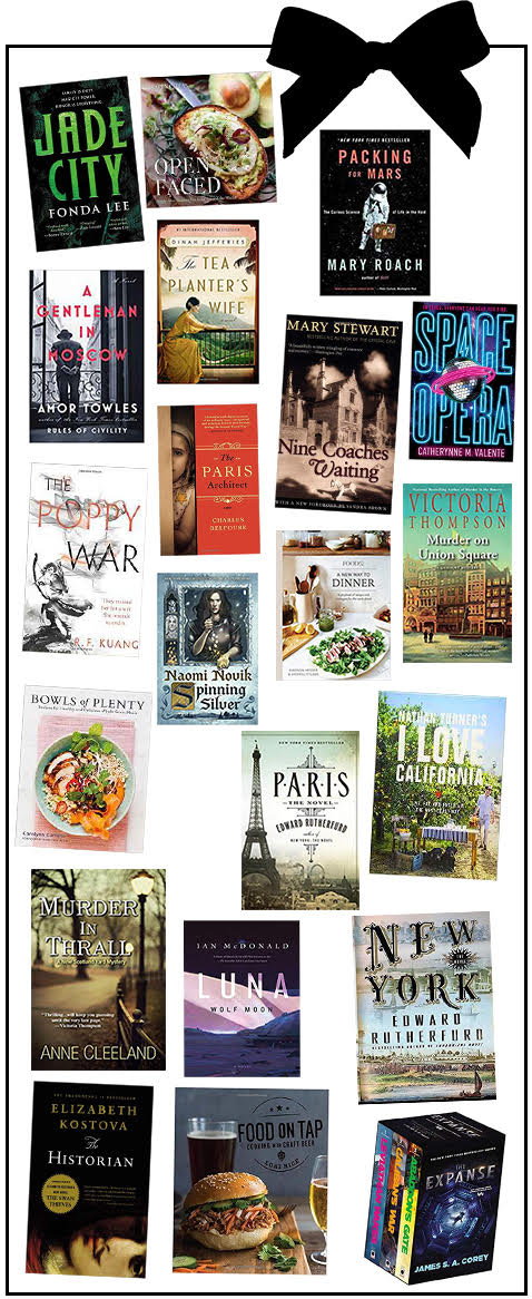 Book Gift Guide - Christmas 2018. An assortment of science fiction, fiction, cookbooks, and the best series to read and gift this holiday season.