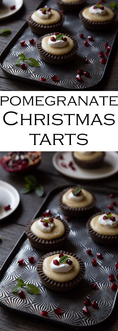 Mini Christmas Tarts with Spiced Custard and Pomegranate Seeds