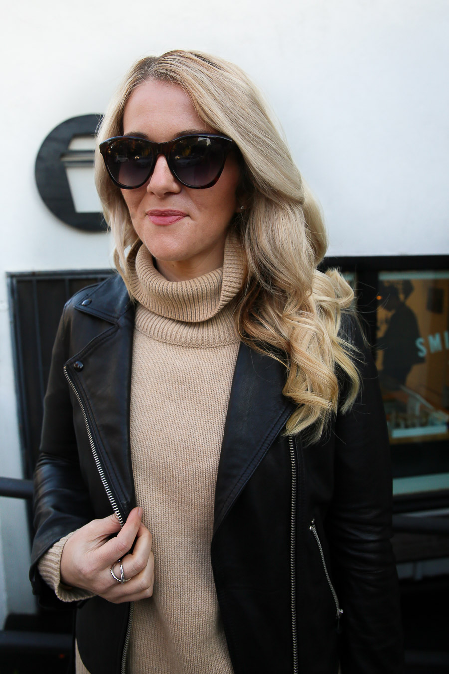 Turtleneck and Leather Jacket Outfit for Women