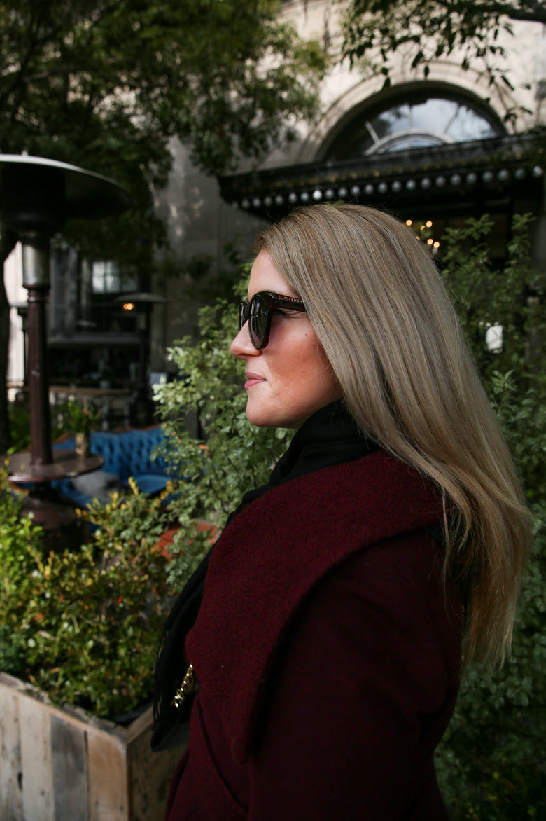 A Burgundy Coat Outfit for the Season