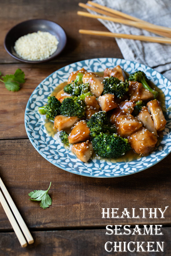 Healthy Sesame Chicken with Broccoli. This healthy dinner recipe is full of flavor. Baked chicken piece mixed with fresh broccoli florets and a delicious sauce recipe everyone will love! #lmrecipes #chicken #dinner #chickendinner #brocoli #chinesecooking #maindish #entree