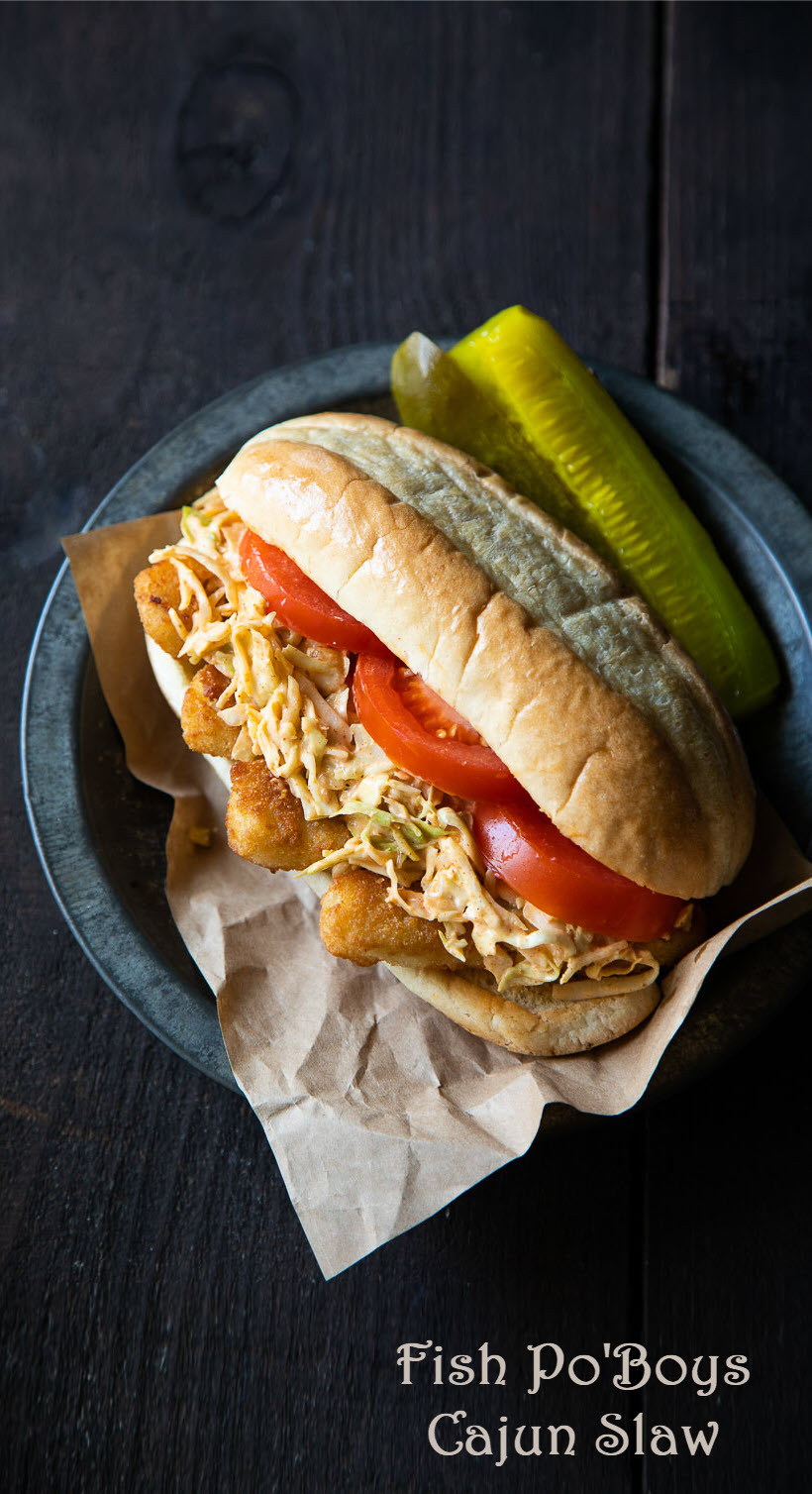 Fish Po' Boys w. Cajun Slaw Recipe. AN easy dinner recipe with fish sticks and a fun and easy Mardi Gras dinner recipe for the family. #lmrecipes #dinner #fishsticks #poboys #mardigras
