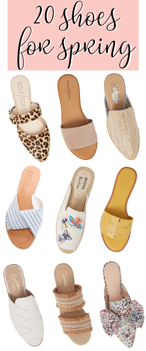 Ladies Spring Shoes 2019. A great selection of slides for spring and flat sandals for summer. Get the cutest mules, slides, and sandals for spring outfit ideas. #fashion #shoes #sandals #flats #spring #springfashion