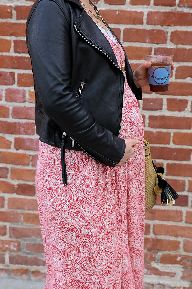 Cute Pregnancy Outfit - Maxi Dress and Leather Jacket