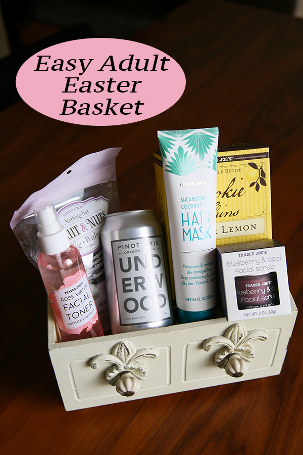 Trader Joe's Adult Easter Basket Ideas. Get these easy ideas for easter baskets without candy. Add some adult favorites for men and women to splurge and enjoy this holiday treat! #easter #easterbasket #holidays #giftbaskets #giftguide #giftideas