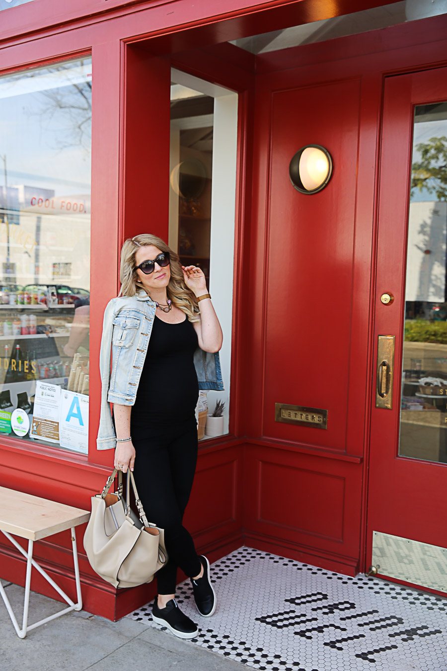 Pregnancy Reality - Black Jeans and Jean Jacket - ECCO Slide Shoes