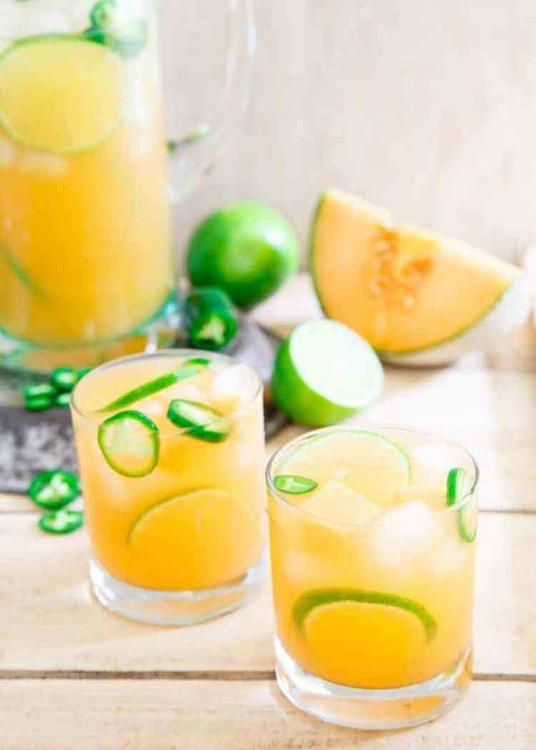 Cantaloupe Lime Jalapeno Agua Fresca- Running to the Kitchen