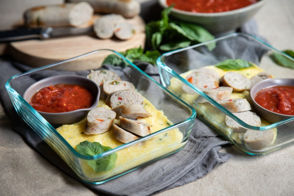 Chicken Sausage and Polenta Meal Prep Idea
