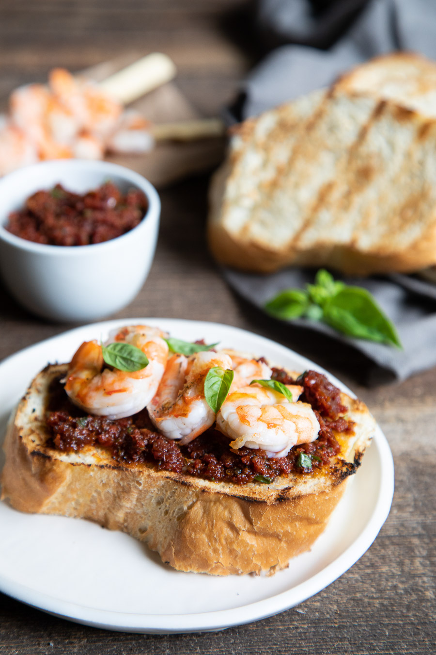 Grilled Shrimp Toast w. Sun Dried Tomato Spread