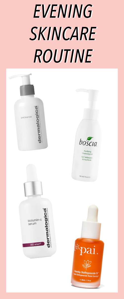 Nighttime Skincare Routine. See what products and what order to apply these skincare products for acne, scarring, and hyperpigmentation. #beauty #skincare #bblogger #beautyblog