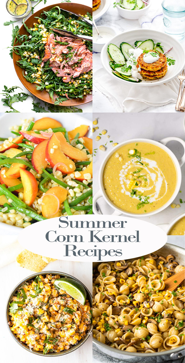 Summer Corn Kernel Recipes. Whether you want a corn dip, salad with corn, main dish, or the perfect corn fritter recipe, this roundup has it all. Use fresh corn kernels (cooked and raw - even leftovers) in these tasty summer recipes. #corn #summer #recipes