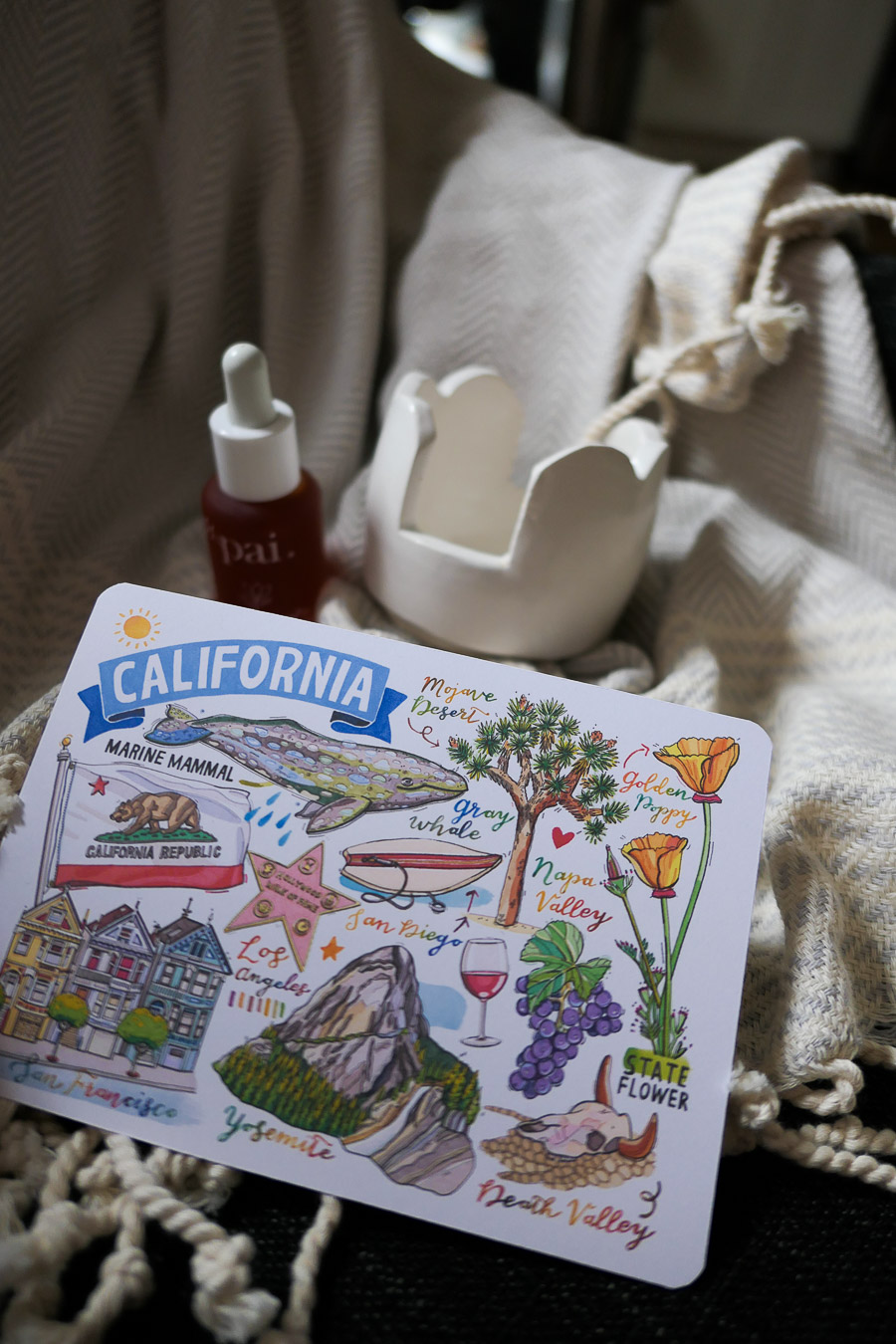 How to Help Small Businesses - Photo of Drawn postcard with California Iconic Images