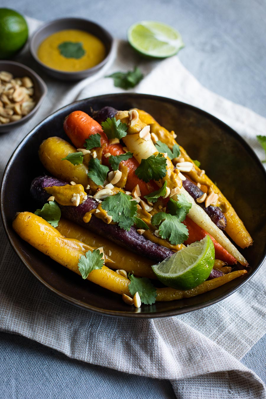 Roasted Carrots with Peanut Sauce
