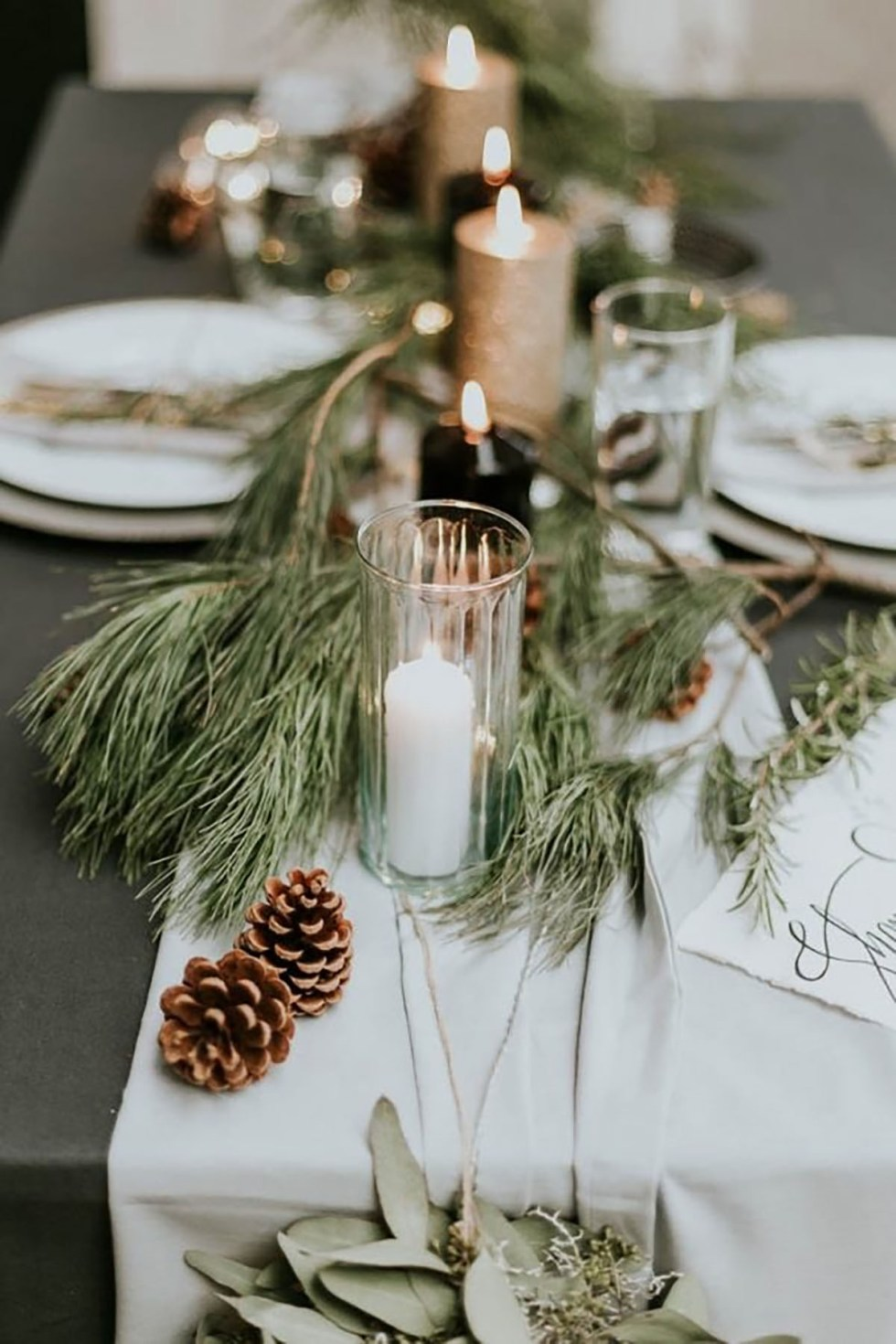 pinecone and pine needle table decor