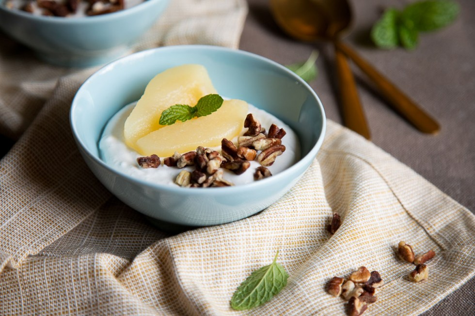 Canned Pear Dessert with Yogurt