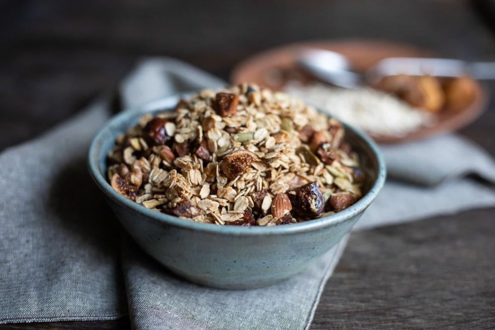 Dried Fig Granola in Blue Bowl