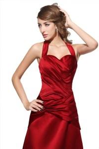 A-Line Halter Long Red Satin Bridesmaid Dresses/Wedding ...