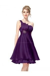 A-Line One-Shoulder Short Purple Bridesmaid Dresses ...