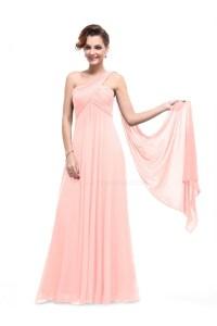 Empire One-Shoulder Long Pink Chiffon Bridesmaid Dresses ...