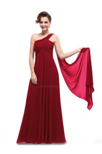 Empire One-Shoulder Long Burgundy Chiffon Bridesmaid ...