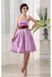 A-Line Strapless Short Purple Satin Bridesmaid Dresses ...