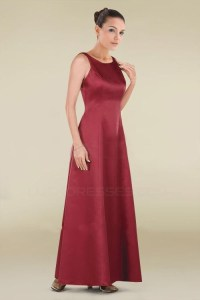 A-Line Long Red Satin Bridesmaid Dresses/Wedding Party ...