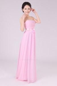 A-Line Strapless Long Pink Chiffon Bridesmaid Dresses ...