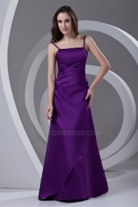A-Line Spaghetti Straps Satin Beading Floor-Length Long ...