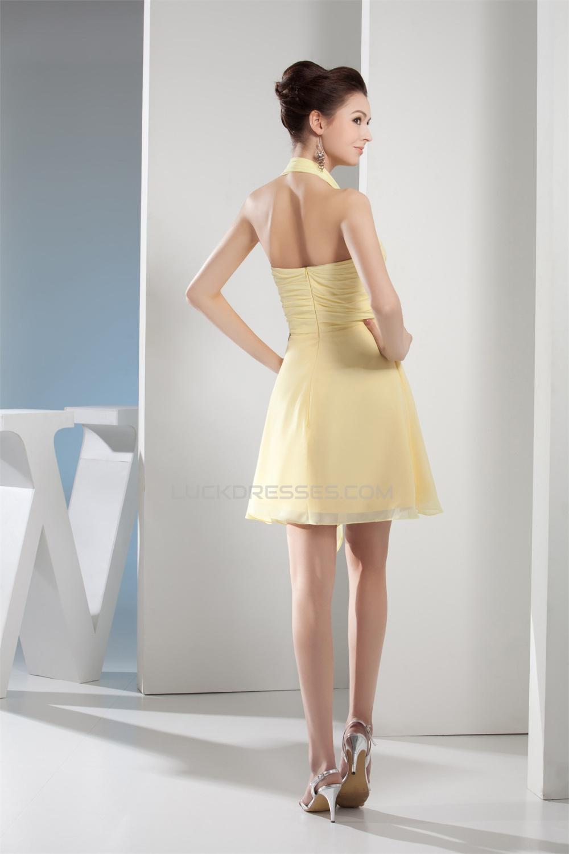 ALine Halter ShortMini Chiffon Bridesmaid Dresses 02010295